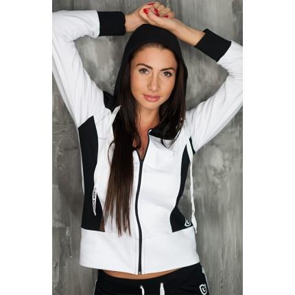 Dámská kolekcia - NDN – Dámska športová mikina na zips CILI (bielo-čierna)