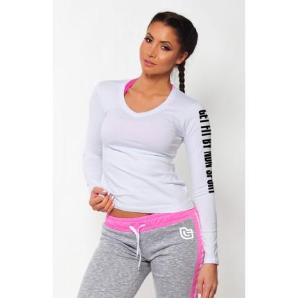 Dámská kolekcia - NDN – Dámske tričko s dlhým rukávom SIMP (biela)