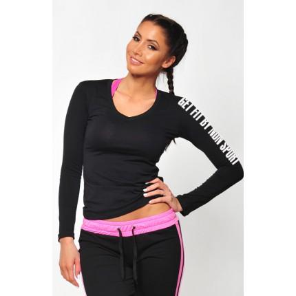 Dámská kolekcia - NDN – Fitness tričko s dlhým rukávom SIMP (čierna)