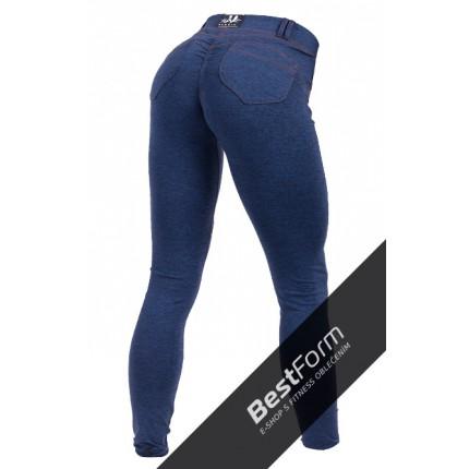 Dámska kolekcia - NEBBIA – Push Up nohavice s riflovým vzhľadom 251 (modrá)