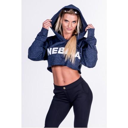 NEBBIA Mikina - NEBBIA - Crop Top s kapucňou 276 (modrá)