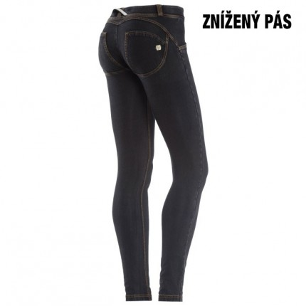 Dámska kolekcia - FREDDY – Push UP Jeans (Čierne so žltým šitím) (1LJ1E-J7Y)