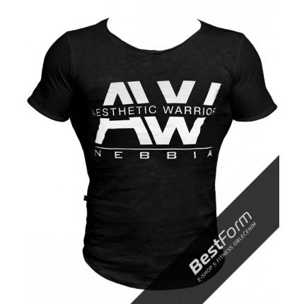 Pánská kolekcia - NEBBIA - Pánske tričko AW 127 (čierna)