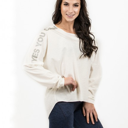 Dámske fitness oblečenie - NEBBIA - Oversized tričko dámske 290 (biela)