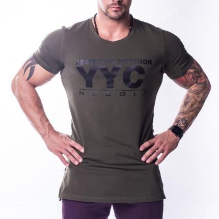 Pánska kolekcia - NEBBIA - AW Line Predĺžené tričko YYC 730 (khaki)