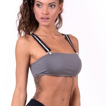 Dámska kolekcia - NEBBIA - Bikini bandeau vrchný diel s trakmi 672 (sivá)