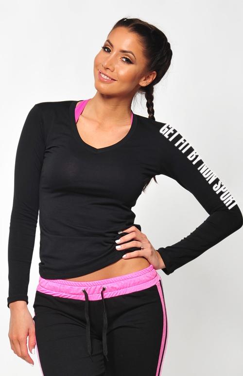 a1e13bf0bb0f3 Dámska kolekcia - NDN – Fitness tričko s dlhým rukávom SIMP (čierna)