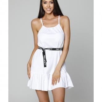 NDN - Dámske šaty na tenké ramienka LUJZA (biela)