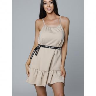 NDN - Dámske šaty na tenké ramienka LUJZA (capuccino)