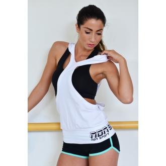 NDN - Dámske fitness tielko DANSE (biela)