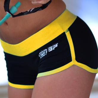NDN - Dámske kraťasy na cvičenie LEDDI (čierno-žltá)