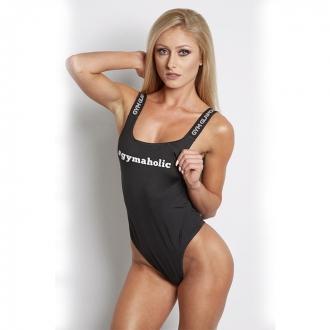 Gym Glamour - Dámske body čierne (tanga) GG028