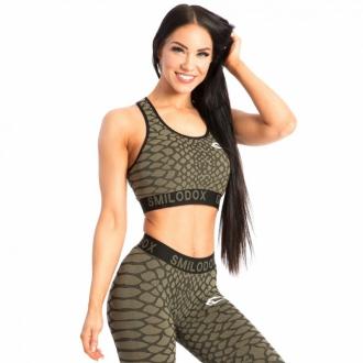 SMILODOX - Fitness podprsenka s hadím vzorom 28180 (zelená)