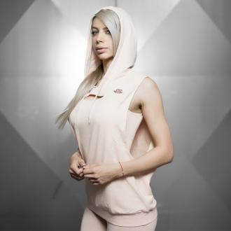 Body Engineers - Dámske športové tielko s kapucňou BEW065 (púdrová)