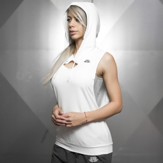 Body Engineers - Dámske športové tielko s kapucňou BEW065 (biela)