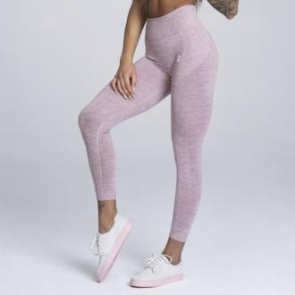 Gym Glamour - Bezšvové fitness legíny (pink melange) GG112