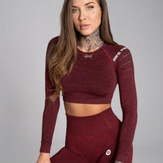 Gym Glamour - Crop top s dlhým rukávom (bordo melange) GG1200