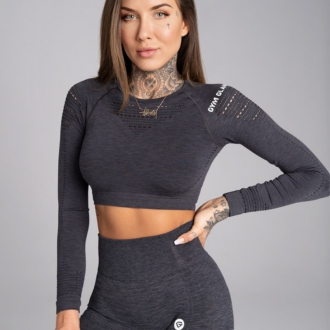 Gym Glamour - Crop top s dlhým rukávom (grey melange) GG1201
