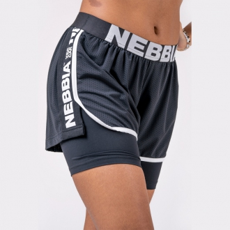 NEBBIA - Kraťasy dámske dvojvrstvové 527 (black)