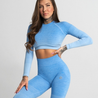 Gym Glamour - Crop Top BLUE OMBRE (SS20-GG2350)