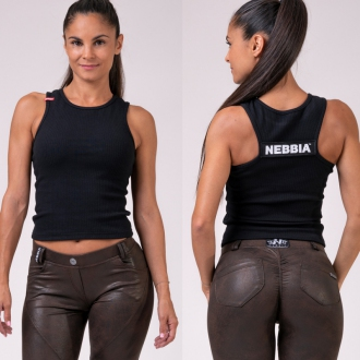 NEBBIA - Crop-top LABELS 516 (black)