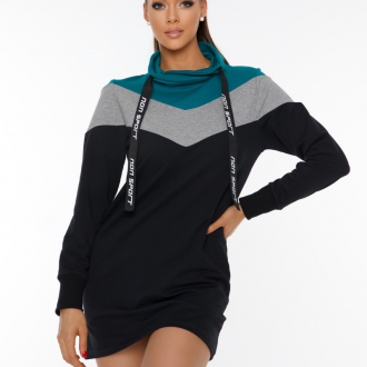 NDN - Dámska tunika INKA (čierno-tyrkysová)