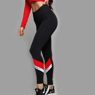 NDN - Dámske fitness legíny GIULIA (čierno-červená)