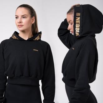 NEBBIA - Crop mikina Golden 824 (black)