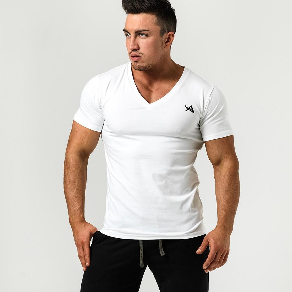 72964fe941d3 Aesthetix Era - Pánske tričko s veľkým výstrihom (biela) (01.028)